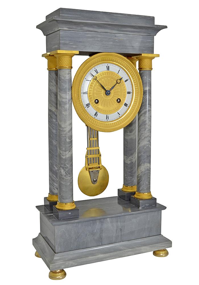 pendule portique en marbre gris turquin d 39 poque charles x 1830 clock prestige. Black Bedroom Furniture Sets. Home Design Ideas
