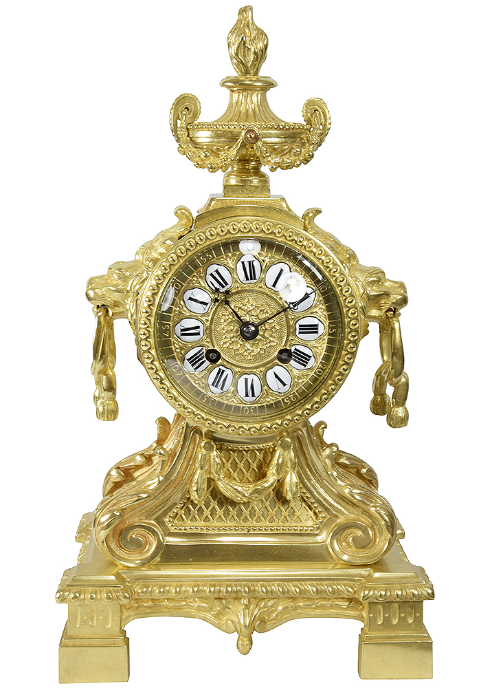 pendule mufle napoleon lion bronze (9)